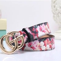 """Gucci"" Women Temperament Fashion Flower Print GG Letter Needle Buckle Leather Belt Waistband"