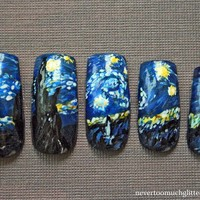 Japanese Nail Art Starry Night Custom by Nevertoomuchglitter