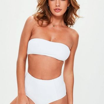 Missguided - White Bandeau Bikini Top - Mix & Match