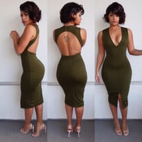 V-Neck Open Back Bodycon Dress