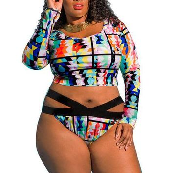 2 Two Piece Bikini Swimsuit 2018 Plus Size Two Pieces Long Sleeved Swimwear Front bandage Women's High Waisted Sexy Large Female Bikinis Set 8016 KO_21_2