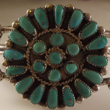 SALE Sterling Turquoise Petit Point Cluster Bracelet