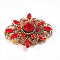 Orange Rhinestone Brooch Vintage Pin