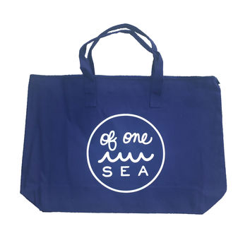 Navy Canvas Zippered Tote White Logo