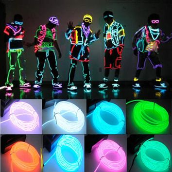 3M Flexible EL Wire Neon Light for Dance Party Car Decor with Controller Waterproof Car Vehicle Shoes LED Light