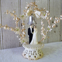 Vintage 1940s Wedding Cake Topper - Bride, Groom, Flowers and Bell - Mid-Century - TREASURY PICK