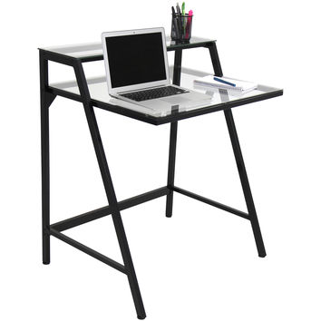 2-Tier Desk Black/Clear