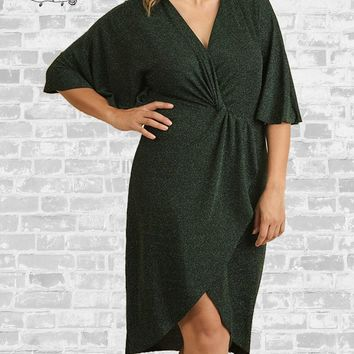 Metallic Wrap Party Dress - Peacock - XL or 1X only