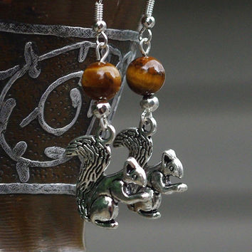 Tiger Eye Squirrel Earrings ~ Tiger Eye Stone ~ Squirrel Tibetan Charm ~ Squirrel Dangle Earrings ~ Semi Precious Stones  ~ Boho Jewelry