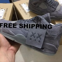 Beauty Ticks Nike Kaws X Air Jordan 4 Kaws Cool Grey Glow Basketball Shoes 930155-003