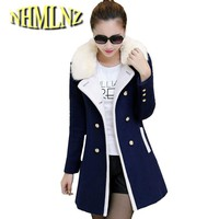 Female Woolen Coat 2017 Winter Women Warm Woolen Coat Medium Long Double-breasted Woolen Coat Slim Large size Coat Female F1094
