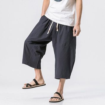 2018 New Japanese Samurai Boho Boggy Drop Crotch Loose Harem Pants Baggy Hakama Cotton Linen Sweatpants Hiphop Wide Leg Trousers