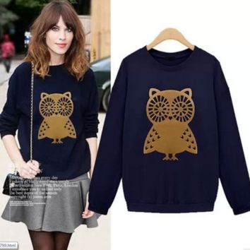Owl Print Pullover Shirt