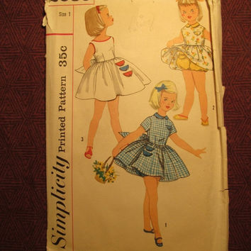 SALE Complete 1950's Simplicity Sewing Pattern, 2059! Size 1 Infant/Toddler/Girls/Kids/Child/Full Flare Dress/Sleeveless Sundress/Panties/Co