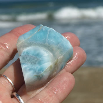 Larimar 37g 184ct Slab Azure Blue Chunky Marbled Lapidary Cabbing Display Aqua Turquoise Caribbean Beach Pectolite Rough Raw Stone OOAK