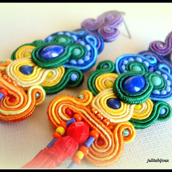 Earrings Rainbow soutache