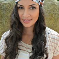 Aztec Boho Head Band, Stretch Head Wrap
