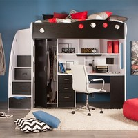 NIKA LOFT Bed/Workstation (Black)