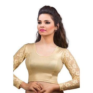 Designer Indian Gold Shimmer Non-Padded Stretchable Full Sleeves Saree Blouse Crop Top (A-19)