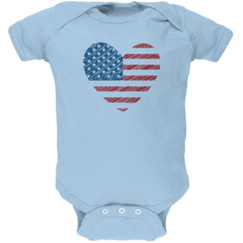 4th of July Scribble American Flag Heart Soft Baby One Piece