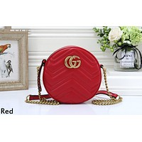 GUCCI tide brand female round chain bag shoulder Messenger bag Red