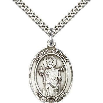 """Saint Aedan Of Ferns Medal For Men - .925 Sterling Silver Necklace On 24"""" Cha... 617759274059"""