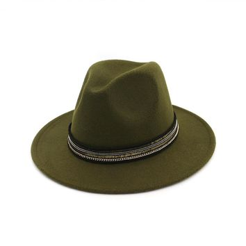 Zgllywr Wool Wide Brim Fedora Pure Felt Bowler Dome Bucket Hat For Women British Style Feminino Jazz Church Vintage Women Men