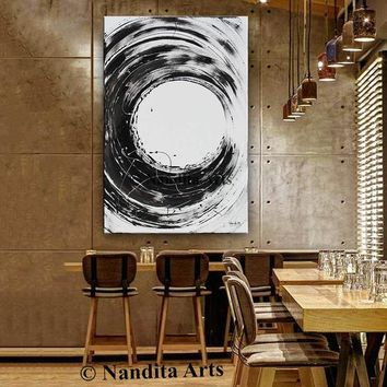 Black Minimalist Abstract Modern Painting on Canvas, Contemporary Art Acrylic Wall Art Office Decor, Artwork by Nandita 48x48in/122x122