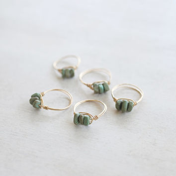 Green and Brown Magnesite Ring