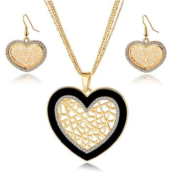 Szelam Gold/Silver Color Heart Jewelry Set For Women Crystal Necklace Earrings Wedding Bridal Jewellery Set SET160009