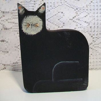 Vintage Wood Black Cat Folk Art Whimsical Wooden Halloween Home Decor