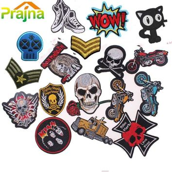 Punk Rock Patch Military Stalker Skull Patch Biker Iron On Embroidered Motorcycle Band Patches For Clothes Stickers Jeans Badges