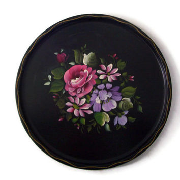 Vintage Tole Tin Tray Round with Pink Painted Roses