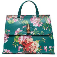 DCCKUG3 Gucci Teal Green Shanghai Blooms Top Handle Flower Bag Handbag Authentic Italy New