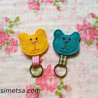 Felt Bear Keychain -  Handmade Small Teddy Bear Key Ring - Colorful Key Ring