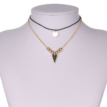 Shiny New Arrival Stylish Jewelry Gift Fashion Simple Design Double-layered Geometric Turquoise Pendant Chain Necklace [8581991111]