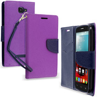 Purple / Navy Blue Wallet Flip Pouch TPU Case Cover for Alcatel One Touch Fierce 2 7040T