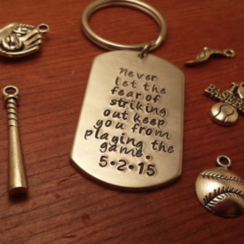 Baseball keychain-Personalized Baseball keychain-I love baseball-ballplayer keychain-Baseball gift-Never let the fear of striking out