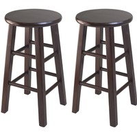 "Trendy Two Wooden Counter 24"" Stools with Square of Legs by Winsome Woods"