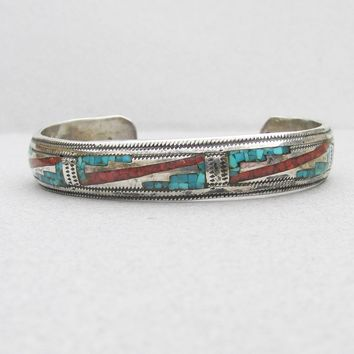 Signed L Begay Native American Navajo Inlaid Turquoise & Coral Sterling Silver Cuff Bracelet