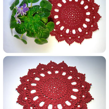 Red home decor Red crochet doily 9 inches Relief textured doily Crochet table decor Round doily Lace little doily Table topper Centrepiece