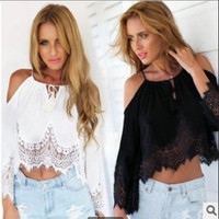 Chiffon Lace Sexy Off Shoulder Strap Casual Boho Top Shrit T-shirt b2230
