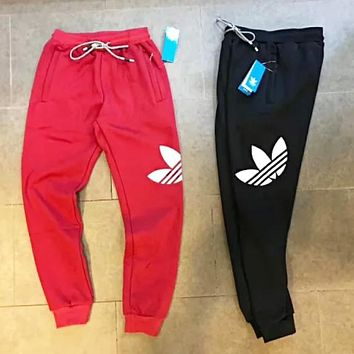 Adidas Autumn And Winter New Fashion Leaf Print Thick Keep Warm Women Men Pants