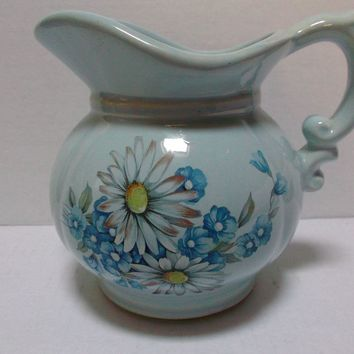 McCoy Pottery Pitcher circa mid 1970's Powder Blue Flowers Daisies