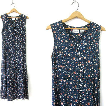 Blue Flower Print Dress 90s Vintage Rayon Floral Pattern Revival Dress Long Button Front Corset Back Dress Womens Size 16P XL