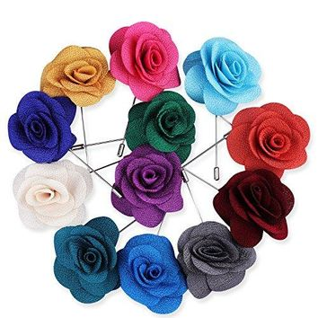 Rhungift Flower Lapel Pin Handmade Rose and Golden Leave Brooch Boutonniere for Men Women Suit Pack of 12