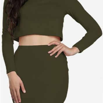 Olive Green Long Sleeve Turtleneck Crop Top Sexy Bodycon Mini Skirt Two Piece Dress