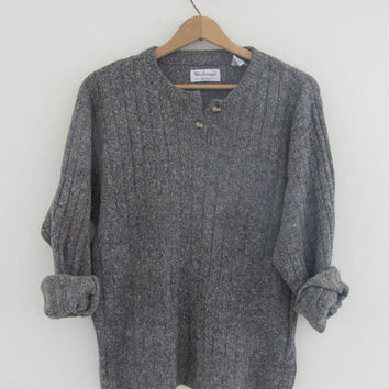 vintage gray speckled sweater. pullover sweater / women's size m-l