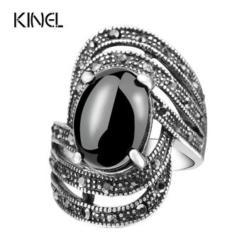 Unique Vintage Fashion Black Rings For Women  Tibet Silver Alloy Antique Oval Angel Wings Ring 2017 New