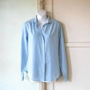 1970s Vintage Light Blue Shirt w/ Thin White Stripes; Women's Medium Hathaway Blouse/Woven Cotton-Poly Top; Free Ship/U.S.